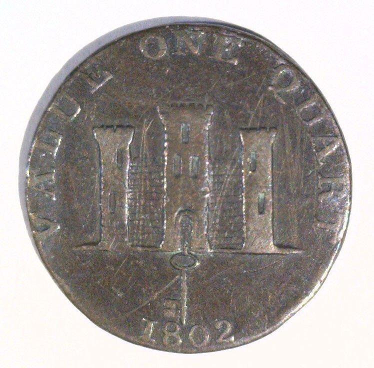 1802 Gilbraltar Quart Coin KM#TN1 Very Fine Value One Quart   Boat on the Sea