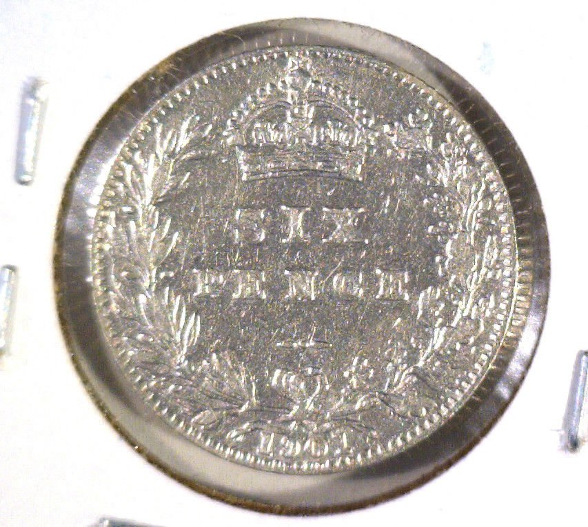 1901 Great Britain Silver Sixpence KM#779 .0841 ASW AU details Cleaned