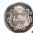 1985 Isle of Man 50 pence prooflike coin  KM#148  Viking Long Boat Ship