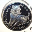 1990 Cook Islands Prooflike Five Dollars Coin KM#181 Endangered Wildlife Tiger