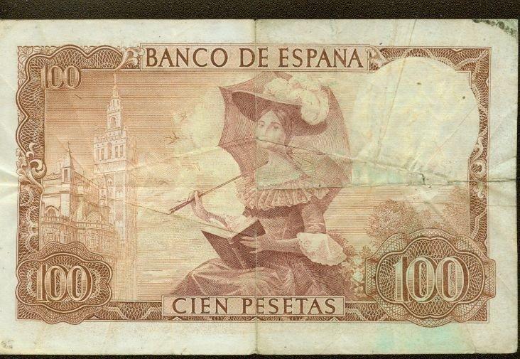 1965 Spain 100 pesetas note Pick# 150 Gustavo Adolfo Bacquer