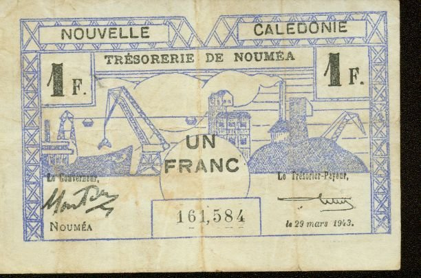 1943 World War II  New Caledonia 1 franc note Pick# 55