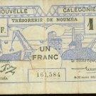1943 World War II  New Caledonia 1 franc note Pick# 55
