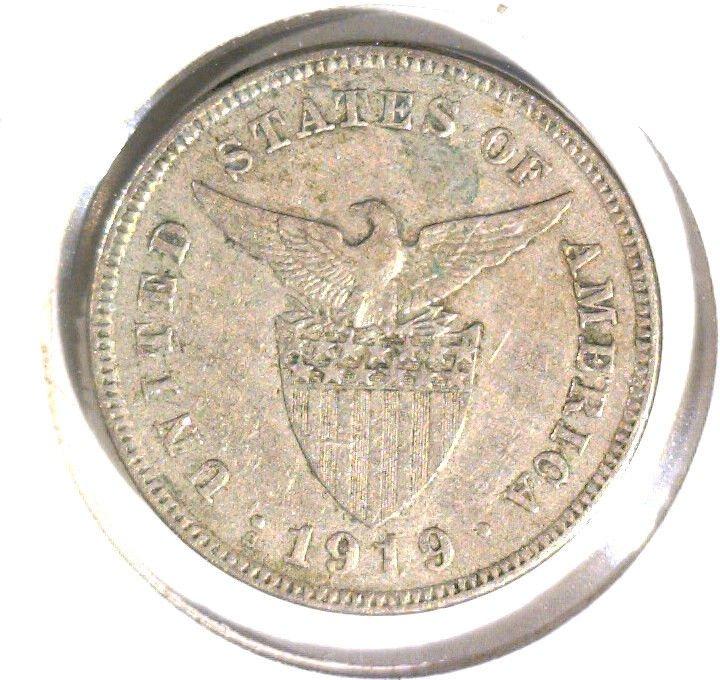1919 S Philippines 5 Centavos Coin KM#164  US Colony Filipinas