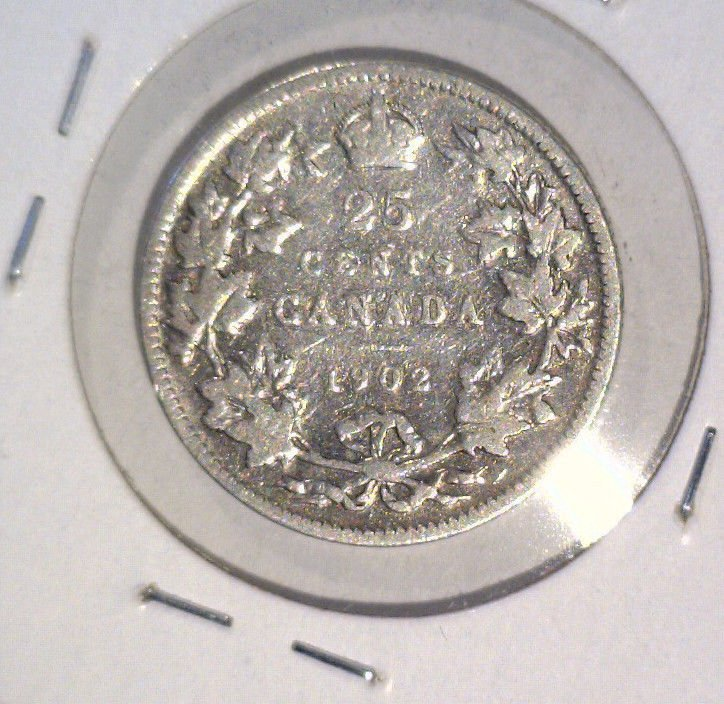 1902 Canada  Silver 25 cent coin  KM##11 Very Good  .1728 ASW