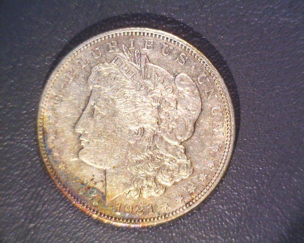 Toned ! 1921 Morgan Silver Dollar XF ! Nice coin with rainbow toning !