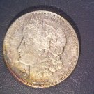 Toned ! 1921 Morgan Silver Dollar XF ! Nice coin with rainbow toning !