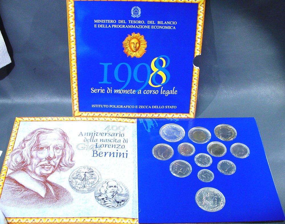 1998 Italy 12 coin BU set 2 silver coins original packaging Bernini 400th Anniv
