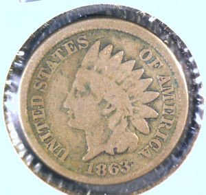 1863 Indian Head Cent Good Condition Copper Nickel
