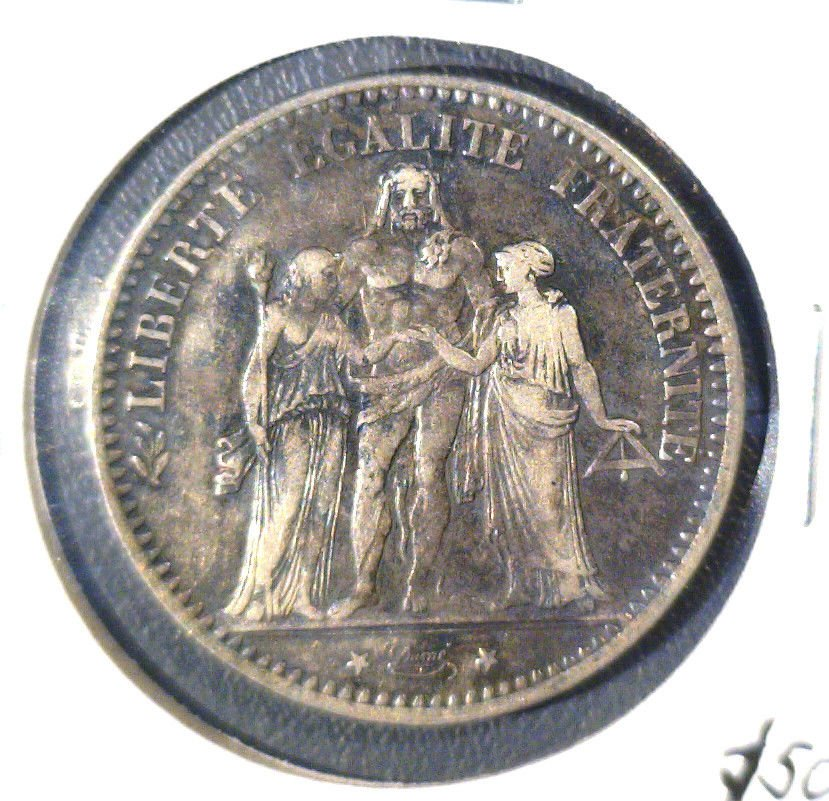 1875 K France 5 Francs Silver Coin KM#820.2     .7234 ASW
