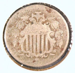 1866 Shield Nickel - Rays - Fair Condition CORROSION