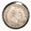 Italy 1863 20 centesimi silver coin KM#13.2  Vittorio Emanuele II   .0268 ASW