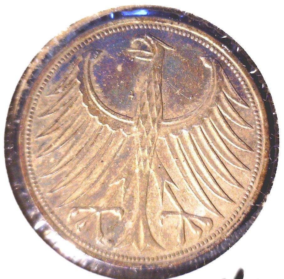 TONED ! 1974 F Germany Silver 5 Mark Coin KM#112.1   .2250 ASW  Rainbow Toning
