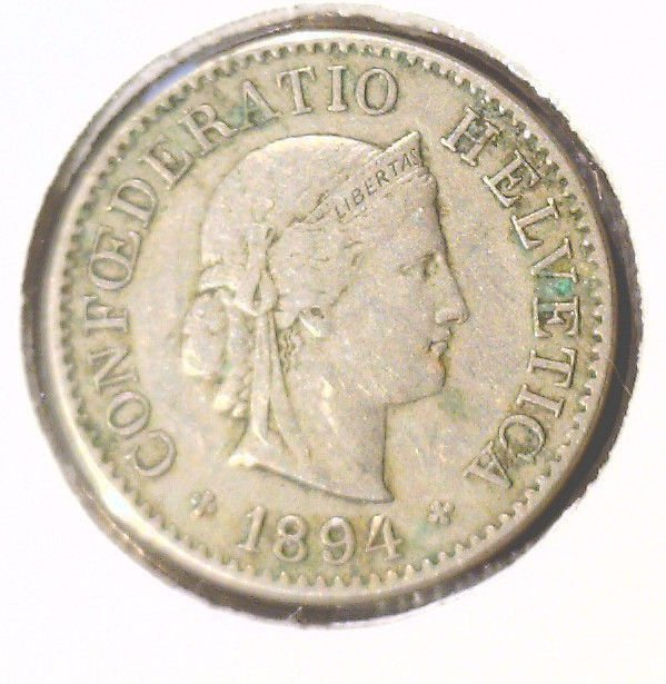 1894 B Switzerland 5 Rappen Coin KM#26   Liberty Head