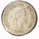 1894 B Switzerland 5 Rappen Coin KM#26   Liberty Head