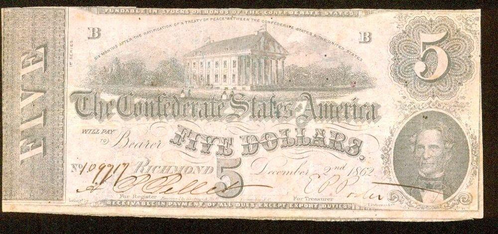 1862 Confederate States of America $5 Note   Type 53   Very Fine
