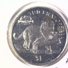 1997 Eritrea Prooflike One Dollar Coin  KM#40  Jurassic Park Triceratops