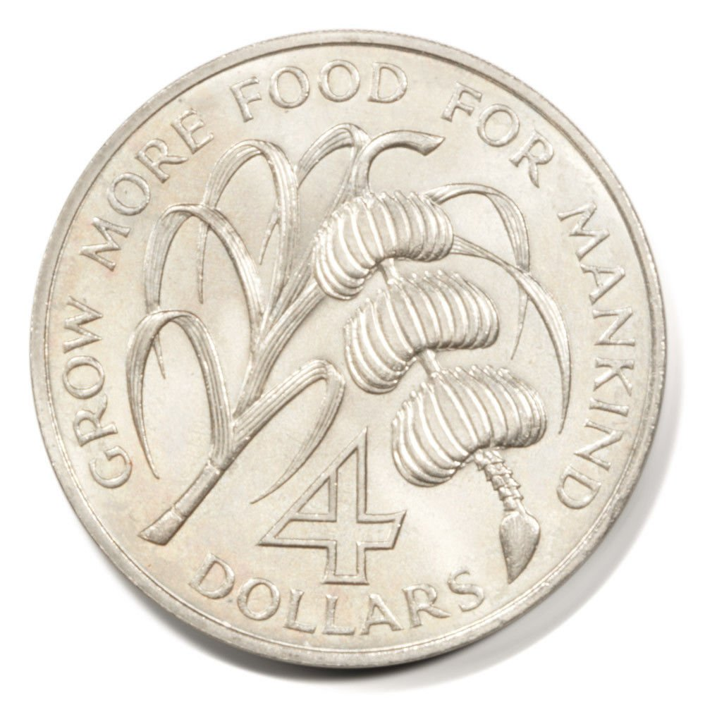 "1970 Grenada FAO Four Dollar Coin BU KM#15 ""Grow More Food for Mankind"""