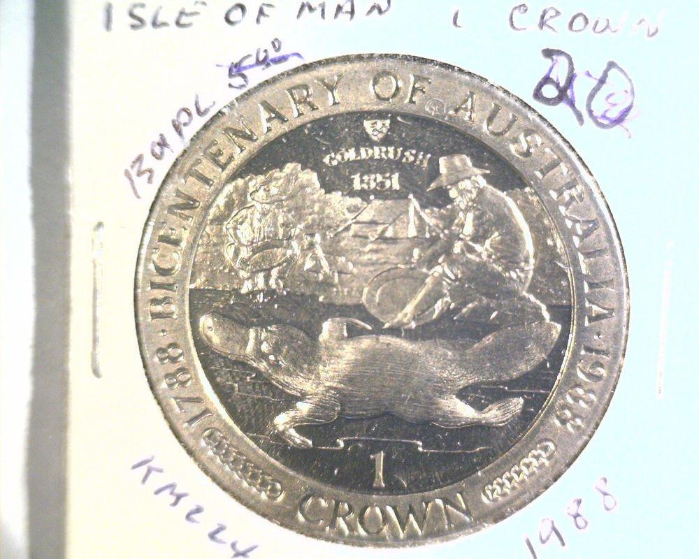 1988 Isle of Man BU Crown Coin Brilliant Uncirculated KM#224 Australia 200 Years