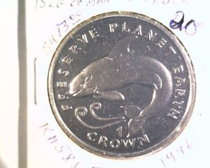1996 Isle of Man BU Crown Coin Brilliant Uncirculated KM#585 Orca Killer Whale