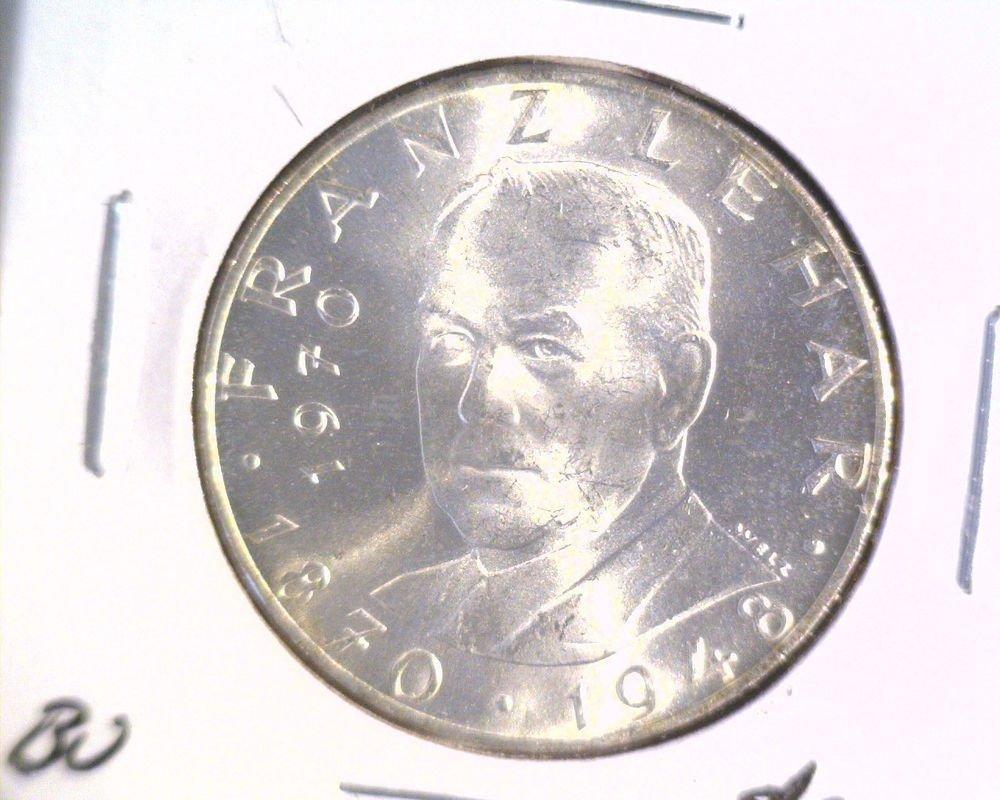 Austria 1970 Silver BU 25 Schilling Coin .3344 ASW KM#2907 Composer Lehar