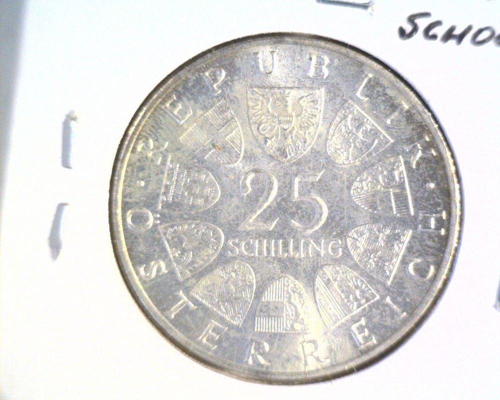 Austria 1965 BU Silver 25 Schilling Coin .334 ASW KM#287 Vienna Technical School