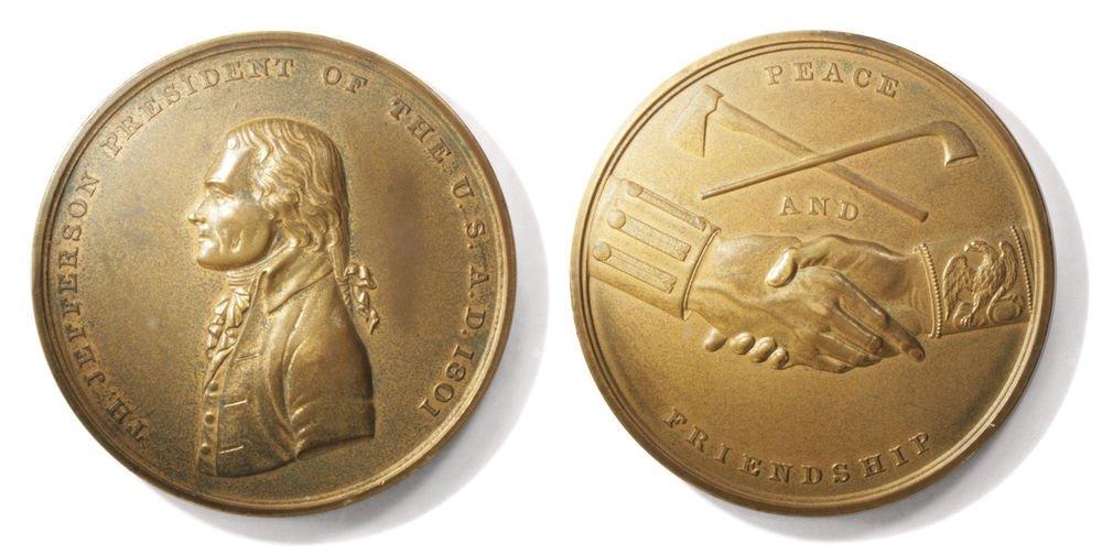 Indian Peace Medal w/ Jefferson Lewis and Clark 1920s Era Copy of 1801 Original
