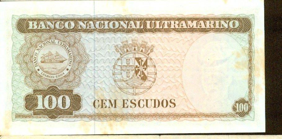 1963 Timor 100 Escudos Bank Note Pick#28 Below Wholesale !
