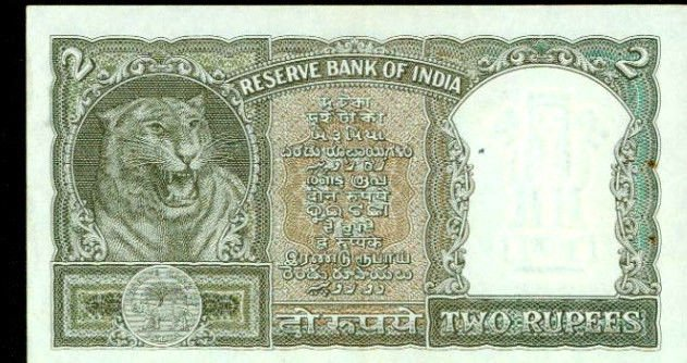 1962 India 2 rupees note Pick 31  Reserve Bank of India   Tiger