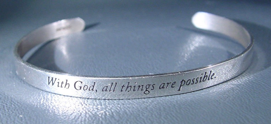 Sterling Silver Bracelet -With God all things are Possible 6.4 g Marked STERLING