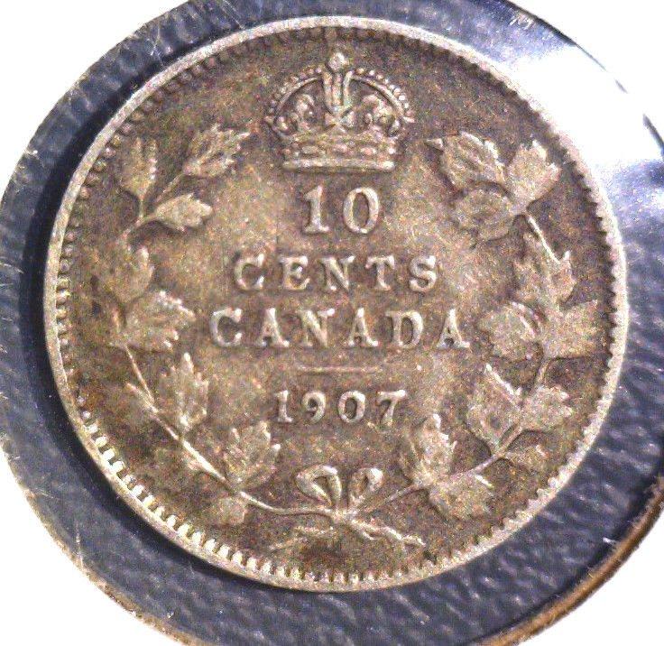 1907 Canada Silver 10 cent coin KM#10   .0691 ASW