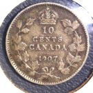 1907 Canada Silver 10 cent coin KM#10   .0691 ASW