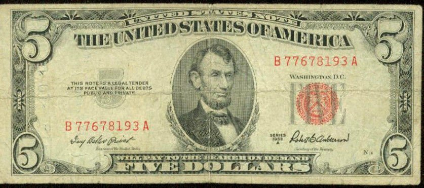 1953 Red Seal $5 Note United States Note- Legal Tender Note FR-1533