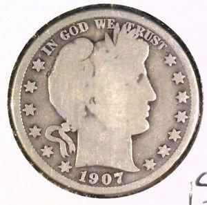 1907 Silver Barber Half Dollar Good Condition