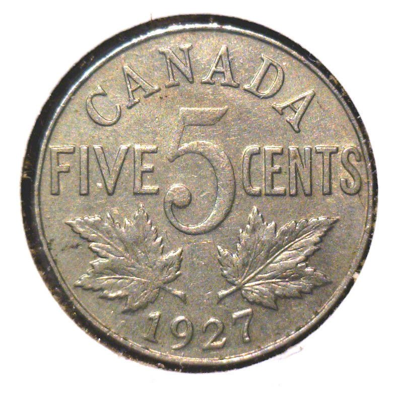 1927 Canada 5 cent coin VF George V   KM#29