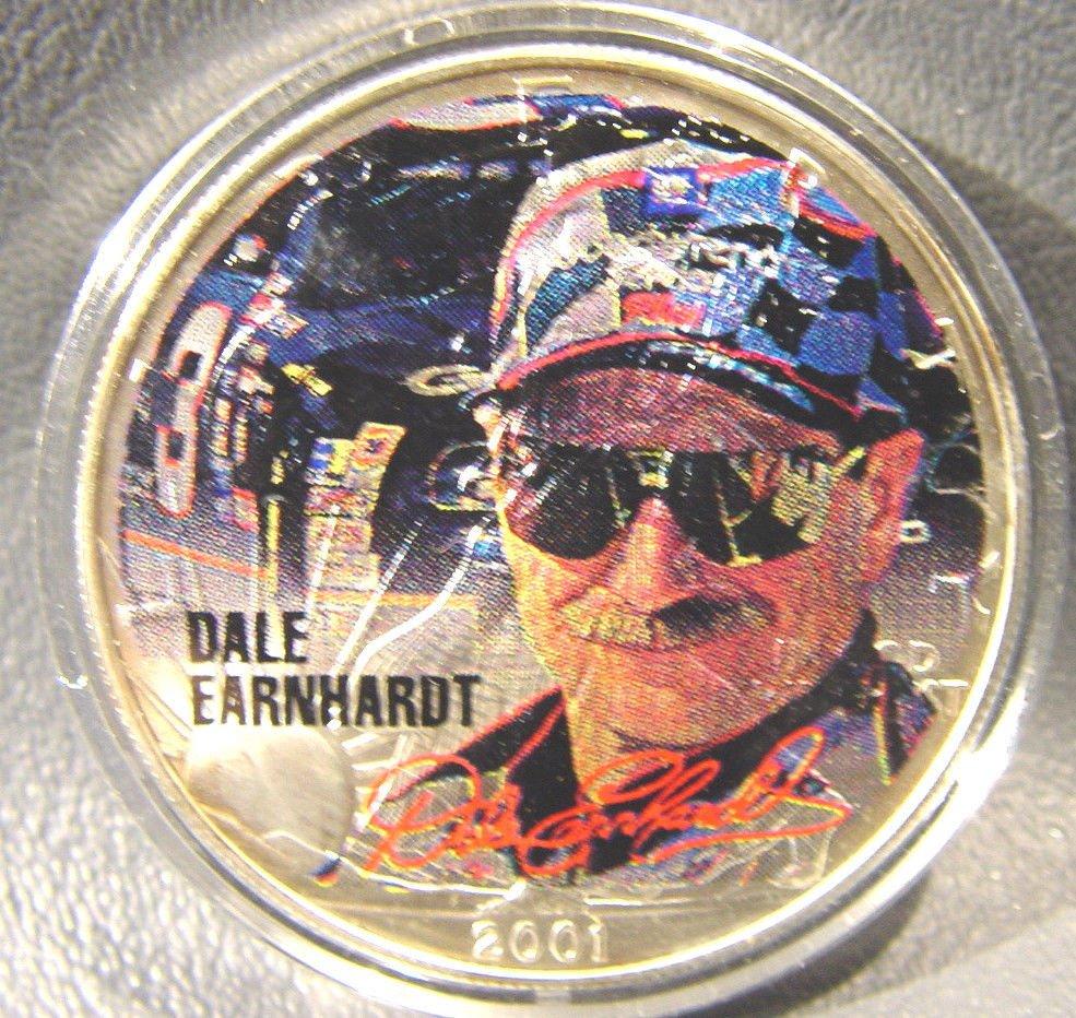 Dale Earnhardt full color portrait on a 2001 Silver American Eagle  1 oz  NASCAR