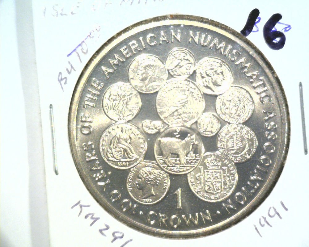 1991 Isle of Man BU Crown Coin Brilliant Uncirculated KM#291 ANA 100th Year