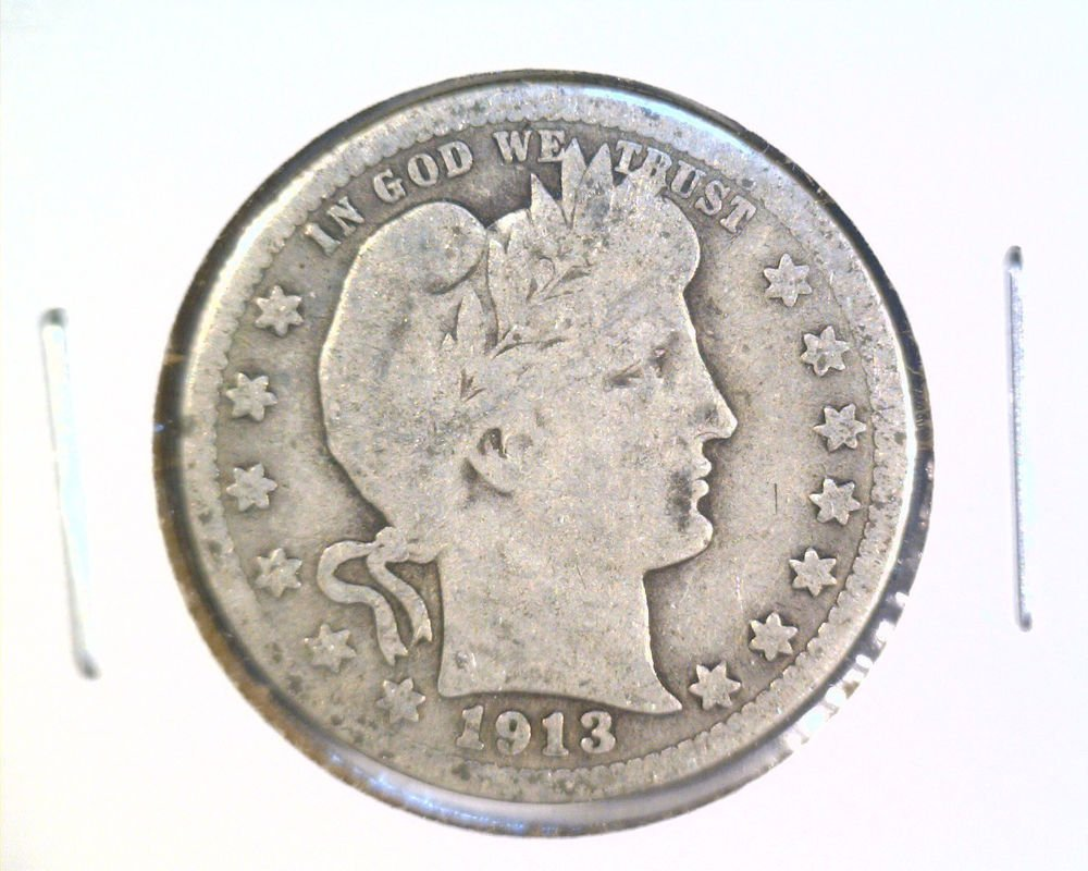 1913 Silver Barber Quarter Good Condition Better Date