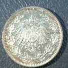 1915A Germany Silver 1/2 mark coin KM#17  .0804 ASW