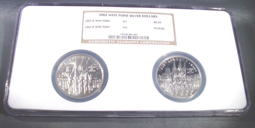 2002 West Point Commemorative Silver Dollars 2 coin set NGC MS69 and PF69UC