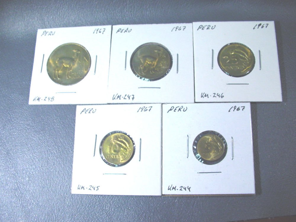 1967 Peru BU Year Set  KM# 244 245 246 247 248  5,10,20 centavos, Un Sol,1/2 Sol
