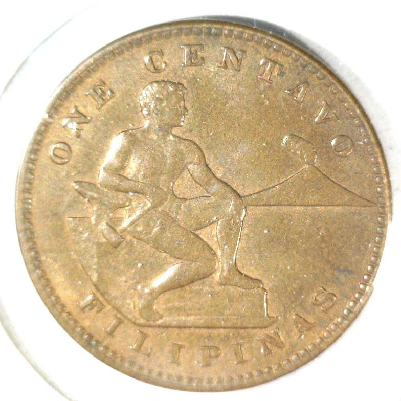 1919 S Philippines Centavo Coin KM#163 AU condition US Colony Colonial Filipinas