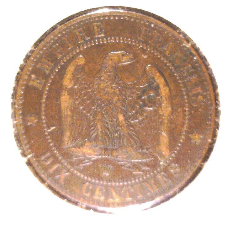 1854 W France 10 centimes coin KM#771.7   Napoleon III