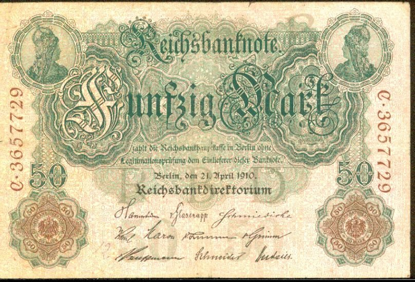 1910 Germany 50 Mark Note Pick #41  German Empire   X