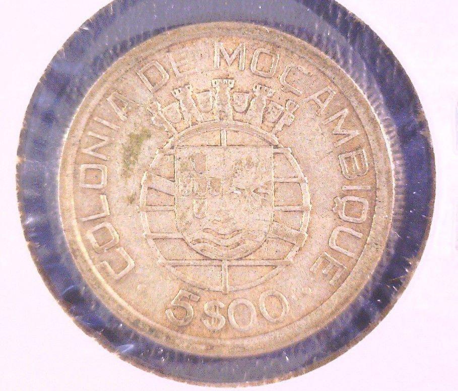 Mozambique 1938 Silver 5 Escudos Coin KM#69  .1463 ASW Republica Portuguesa