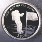 "2000 Liberia Silver Proof $10 coin ""First Man on the Moon"" KM#503 .2746 ASW"