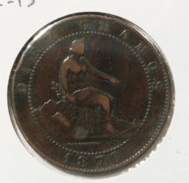 1870 OM Spain 10 Centimos Coin KM#663 Diez Centimos