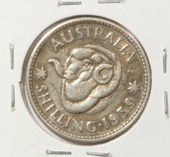 1939 Australia Silver Shilling Coin.1680 ASW Ram's Head Sheep Ranching