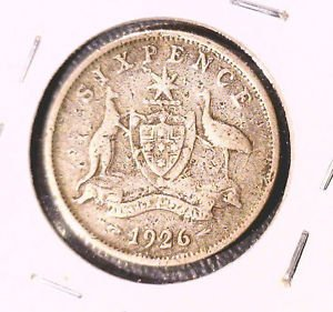 1926 Australia Silver Sixpence Coin KM#25   .0839 ASW