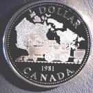 1981 Canada Silver Proof Dollar KM#130   .3750 ASW  Railroad Train